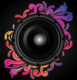 Black speaker with swirl ornament Stock Photo