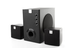 Black speakers and woofer Stock Images