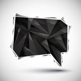 Black speech bubble geometric icon, 3d modern style Stock Photography