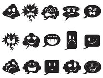 Black speech bubble smileys icons Royalty Free Stock Photography