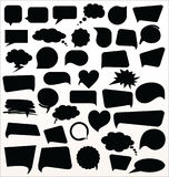Black speech bubbles collection Stock Photography