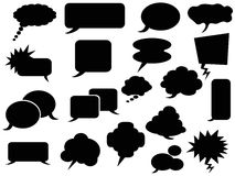 Black speech bubbles icons Stock Photos