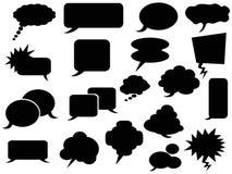 Black speech bubbles icons. The background of black speech bubbles Stock Photos