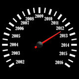 Black speedometer. 2013 year speedometer. Abstract background Stock Photography