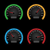 Black speedometer dial. Set of car speeding limit panels  on black background. Speedometer shows the speed limit Royalty Free Stock Photo