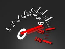 Black speedometer with red arrow. 3d royalty free illustration