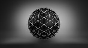 Black sphere and polygonal wireframe 3D illustration Royalty Free Stock Photo