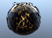 Black Sphere Shattered Abstract 3d isolated. On background Stock Photography