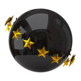 Black sphere with stars. 3d illustration of black sphere with stars Royalty Free Stock Images