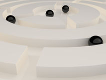 Black spheres in an abstract maze Stock Images