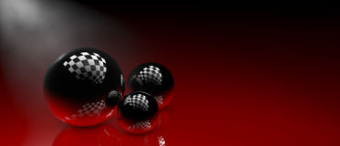 Black spheres  in 3D illustration Stock Photo