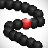 Black spheres and one in red. illustration Royalty Free Stock Images