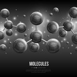 Black spherical particles on dark background. Abstract molecules design. Vector illustration. Atoms. Technology banner or flyer. Molecular structure with black Royalty Free Stock Photo