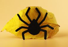 A black spider with autumn yellow leaf on orange background. Halloween´s decoration on window or as decoration royalty free stock images