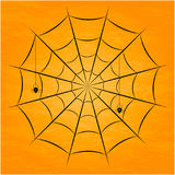 Black spider with nets. Vector illustration. Royalty Free Stock Photo