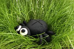 Black spider from the plasticine Stock Photos