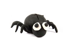 Black spider from the plasticine Royalty Free Stock Image