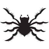 Black spider. silhouette. vector illustration. Drawing by hand. Royalty Free Stock Photos