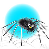 Black spider and spiderweb - Kids illustration stock image