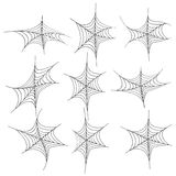 Black spider web halloween. Set of spiderweb black isolated on white background.black spider web halloween Stock Image