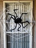 Giant Spider and Web Halloween Decor stock images