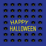Black spiders. Happy Halloween card. Stock Photography
