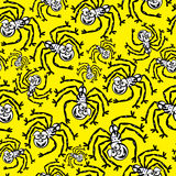 Black spiders of seamless pattern Stock Images