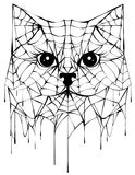 Black spiderweb silhouette head cat. Halloween accessory. Isolated on white vector illustration Royalty Free Stock Image