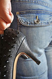 Black spiky stilettos Royalty Free Stock Images