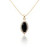 Black spinel Diamond pendant isolated on white Stock Photos