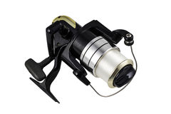 Black spinning reel on the white background Royalty Free Stock Photography