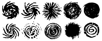 Black spiral circles of ink. Set of grungy swirling circles. Swirling grungy elements. Ink spiral movement. Vector. Grunge stamps collection, abstract shape royalty free illustration