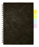 Black spiral note book and post it Stock Image