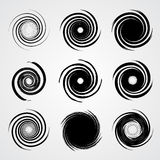 Black spiral swirl set. Circle with brush vector illustration Royalty Free Stock Photo