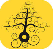 Black spiral tree with root Royalty Free Stock Image
