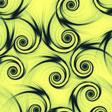 Black spirals in yellow green background Royalty Free Stock Image
