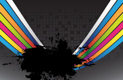Black splash and colorful lines Royalty Free Stock Images