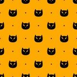 Black spooky cat head pattern stock illustration