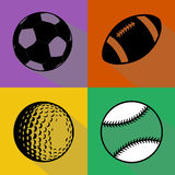 Black sport balls vector set Royalty Free Stock Photo