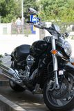Black sport bike on city. Road Stock Photo