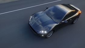 Black sport car on road, highway. Very fast driving. 3d rendering. Royalty Free Stock Photos