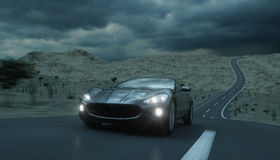 Black sport car on road, highway. Very fast driving. 3d rendering. Stock Photography