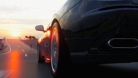 Black sport car on road, highway. Very fast driving. 3d rendering. Royalty Free Stock Images