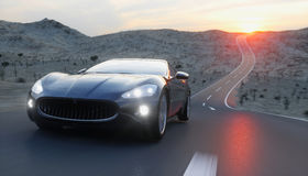 Black sport car on road, highway. Very fast driving. 3d rendering. Stock Image