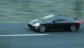 Black sport car on road, highway. Very fast driving. 3d rendering. Black sport car on road, highway. Very fast driving. 3d rendering Royalty Free Stock Photography