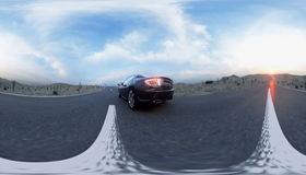 Black sport car on road, highway. Very fast driving. 360 spherical panoramic. 3d rendering. Royalty Free Stock Photo