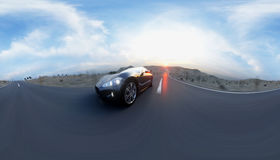 Black sport car on road, highway. Very fast driving. 360 spherical panoramic. 3d rendering. Stock Images