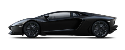 Black sport car side view. Royalty Free Stock Photo