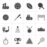 Black Sport equipment icons. Vector icon set Stock Photography