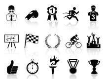 Black sport icons set stock illustration